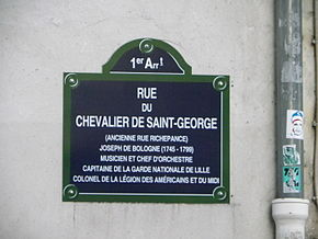 Plaque_rue_du_Chevalier_de_Saint-George_à_Paris
