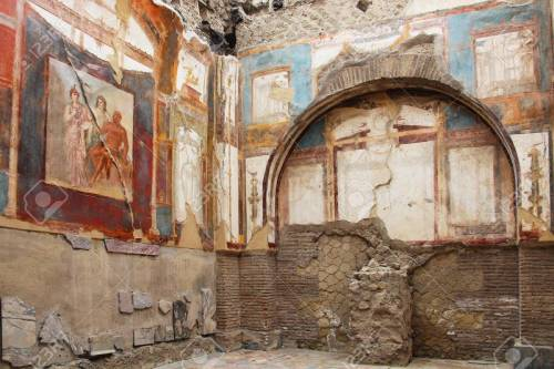 Ancient fresco in the ruins of Herculaneum, Italy